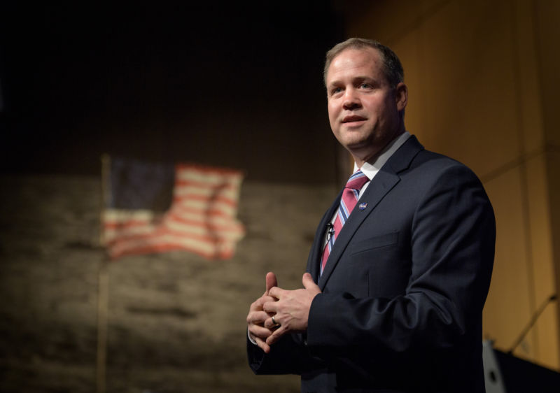 "NASA Administrator Jim Bridenstine would like the agency to return to the Moon ""fast"" but sustainably."