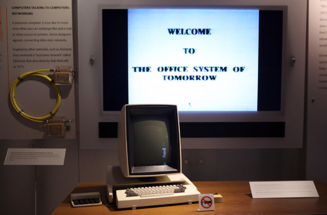 A display featuring the Xerox Alto personal computer is seen at the Computer History Museum in 2011.