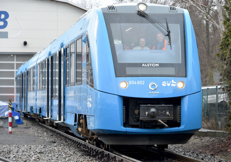 A blue hydrogen-powered train.