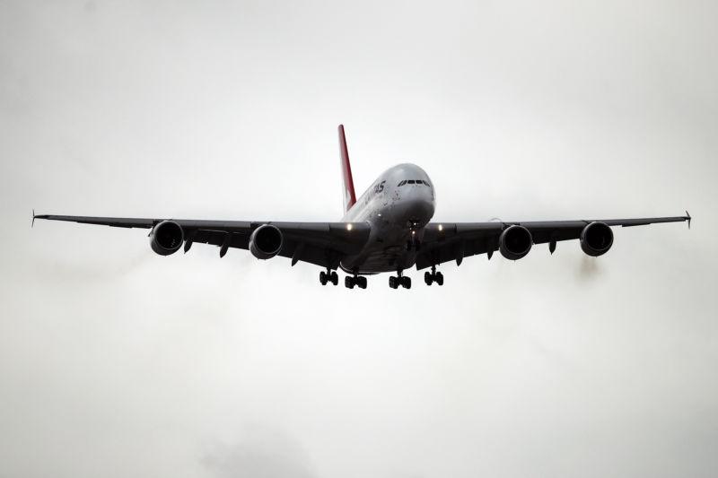 Airplane approaching a landing.