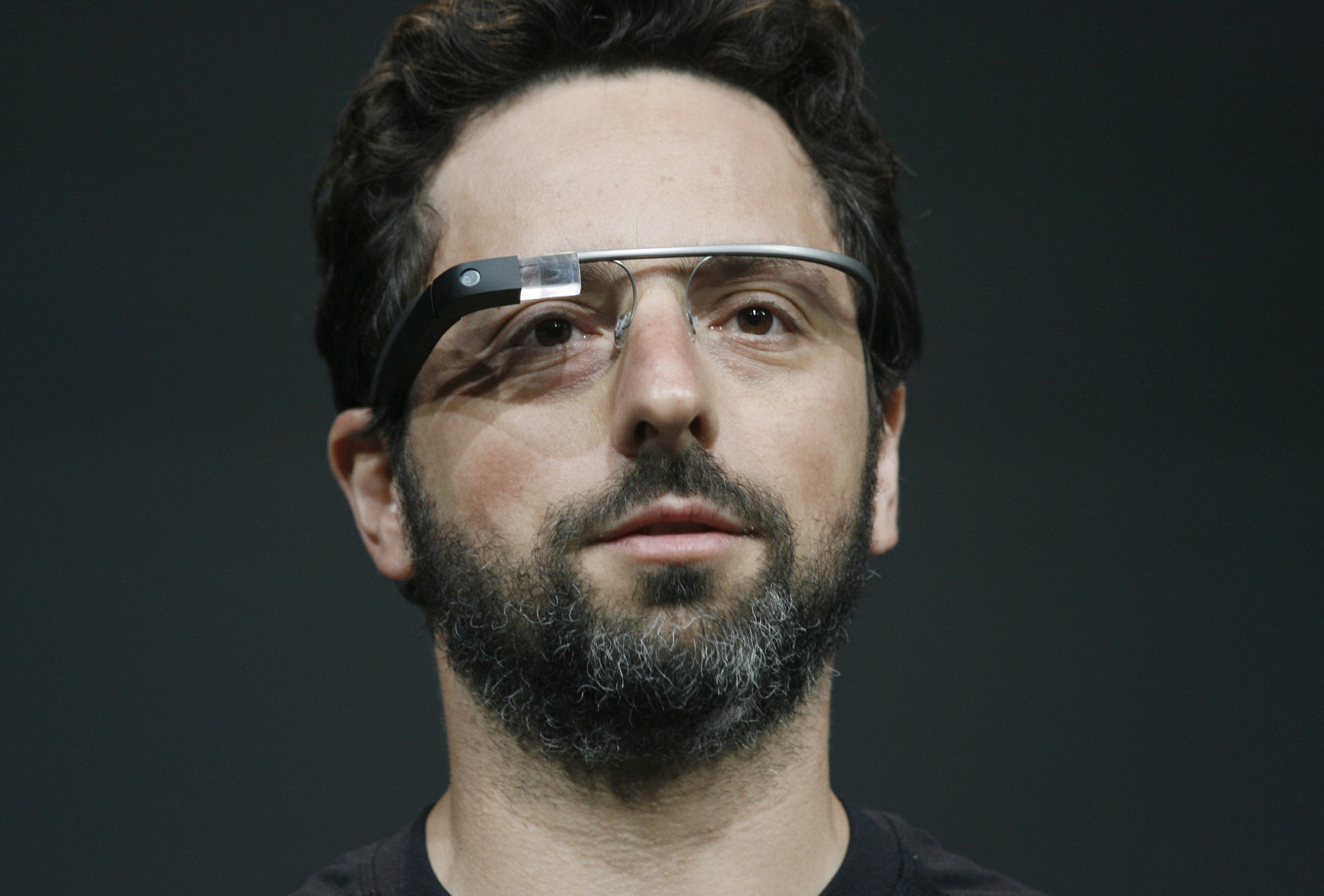 Sergey Brin wears Google Glass in 2012.