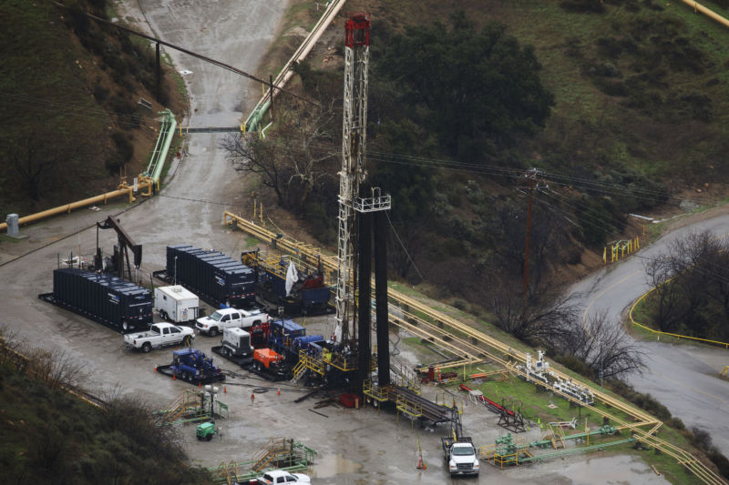 A natural gas well pad at Aliso Canyon.