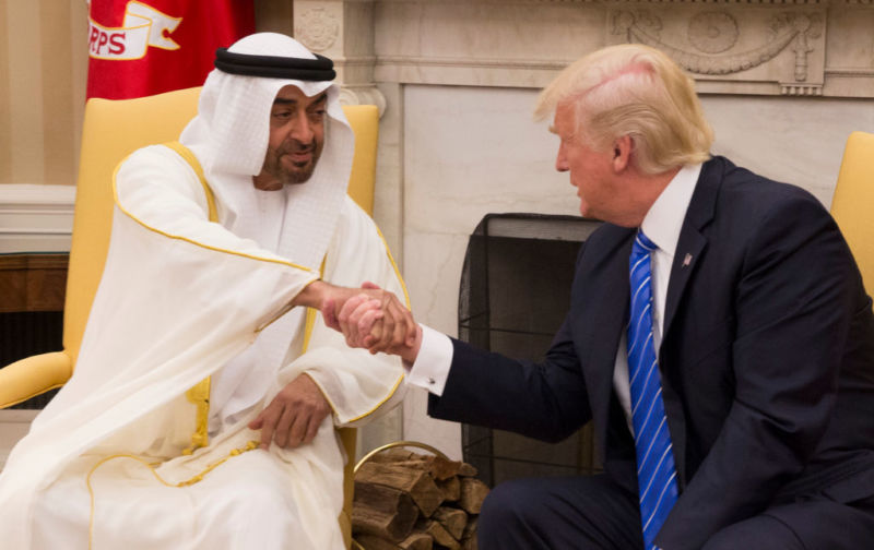 President Donald Trump welcomes Crown Prince Shaikh Mohammad bin Zayed Al Nahyan of Abu Dhabi in the Oval Office of the White House on May 15, 2017 in Washington, DC.