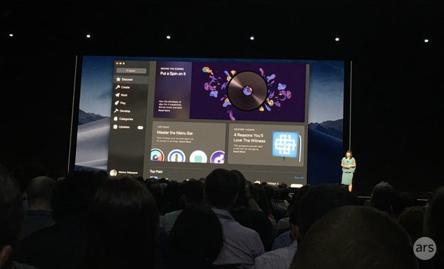 Apple introduces a revised Mac App Store at WWDC 2018 in San Jose, California.