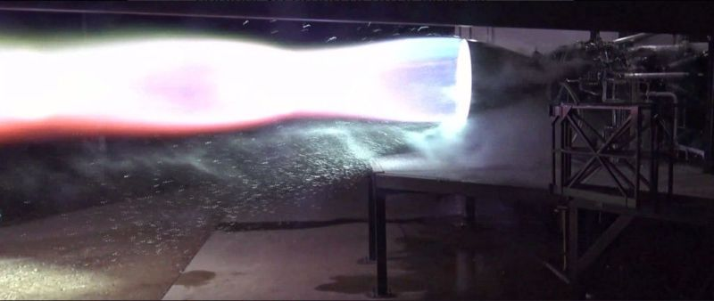 The first test firing of a flight version of SpaceX's Raptor rocket engine.