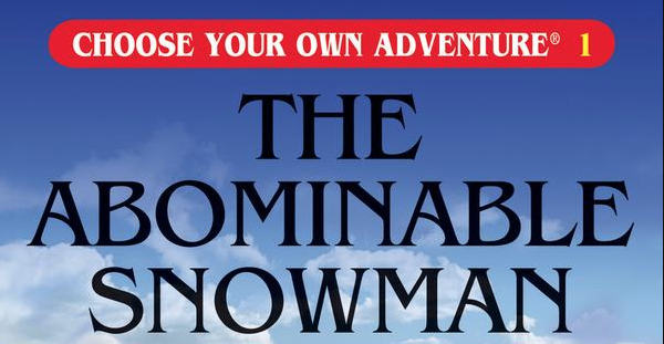 A portion of the book cover for <em>The Abominable Snowman</em> by R.A. Montgomery.