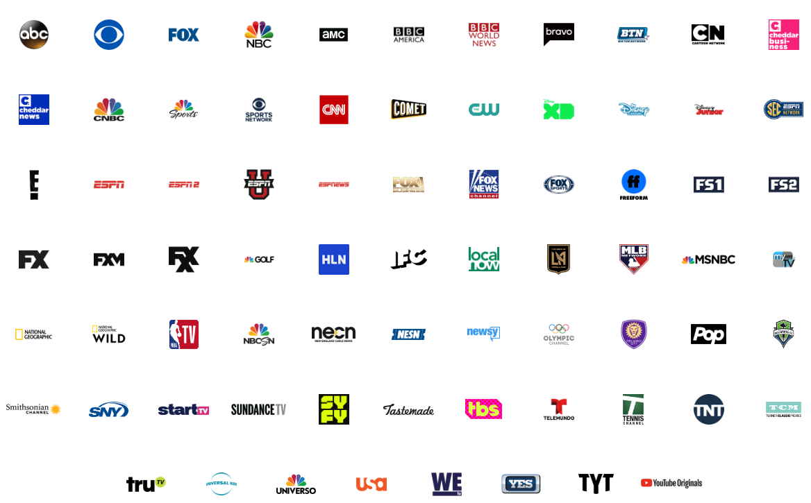 All channels included in YouTube TV (as of February 2019).