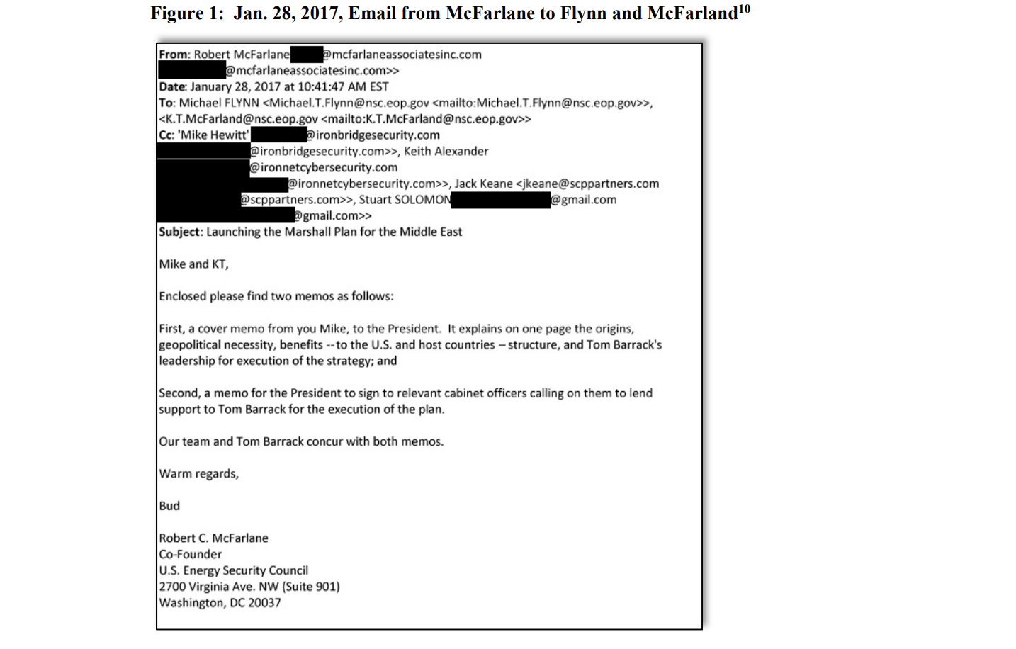 An email from Robert McFarlane to National Security Advisor Michael Flynn giving him direction to pitch a plan to sell nuclear tech to Saudi Arabia.