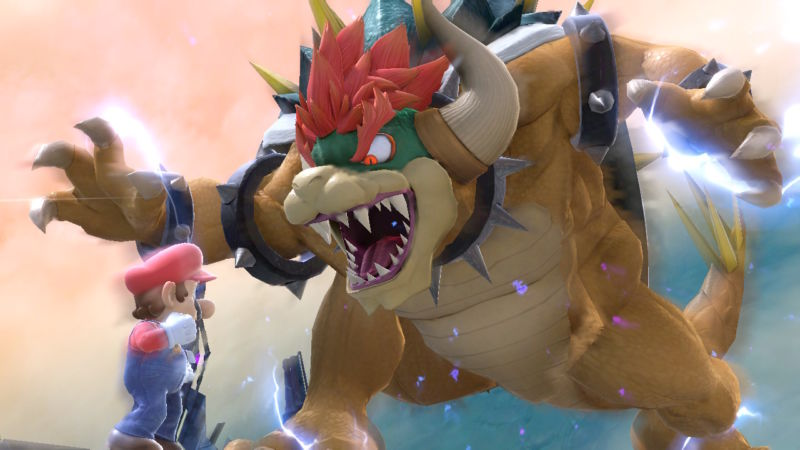 Promotional image from a video game featuring plumber Mario being threatened by malevolent turtle Bowser.