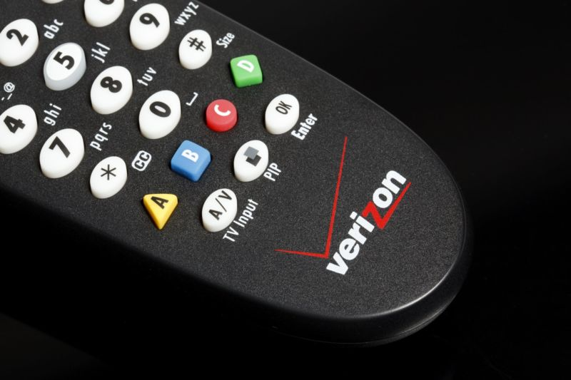 A Verizon FiOS TV remote control.