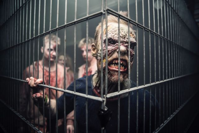 """Scare actors"" in zombie makeup exhibit cues of hostility and contagion."