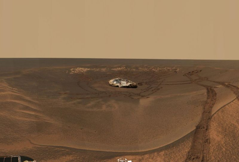The rover Opportunity leaves its landing site at Eagle Crater on Mars in 2004.