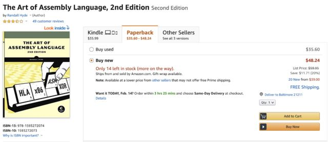 Even the photo for the book's main listing on the Amazon marketplace is of a fake, showing a misaligned spine image.