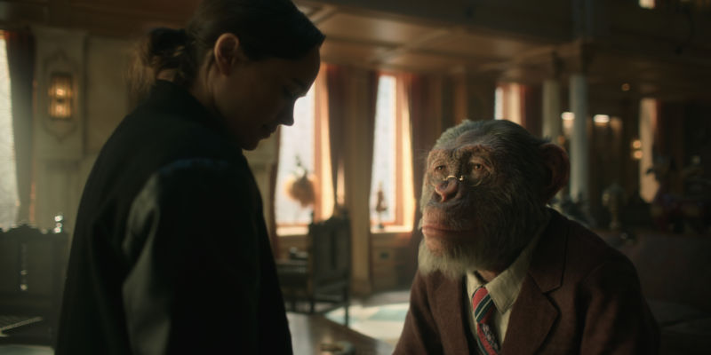 Ellen Page as Vanya Hargreeve and a CGI chimpanzee as Pogo, the Hargreeve family's primate butler.