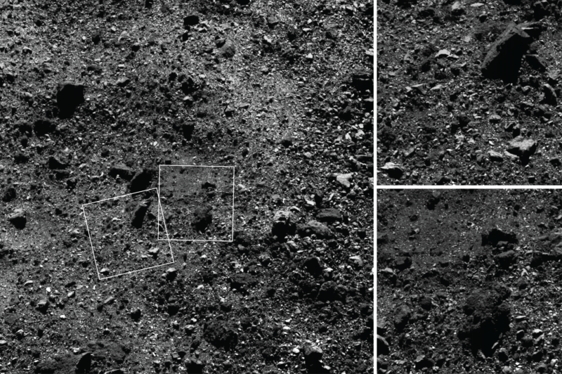 These images of the asteroid Bennus northern hemisphere show that they are covered with stones.