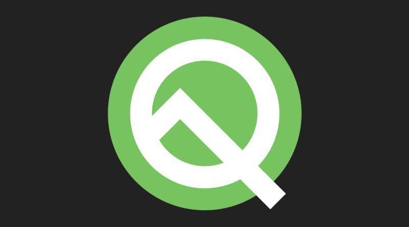 "The Android Q logo. It's also a ""10,"" for ""Android 10."""