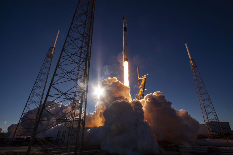 A Falcon 9 rocket launches a GPS III satellite for the Air Force in December 2018.
