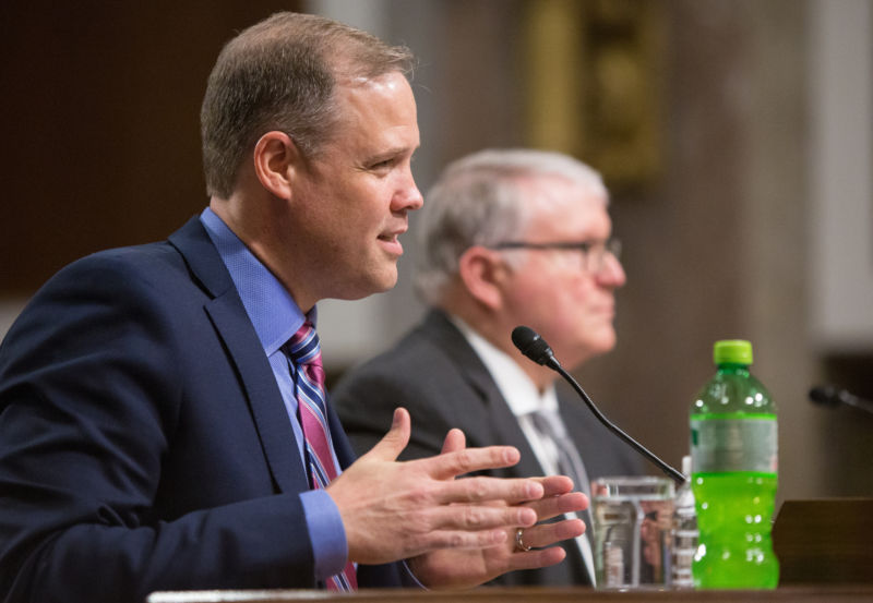 NASA administrator Jim Bridenstine speaks at Wednesday's Senate hearing. His rocket fuel of choice is not LOX/Kerosene, but rather Mountain Dew.