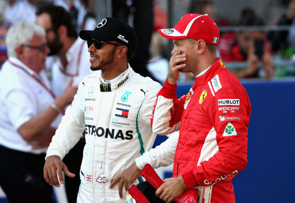 Lewis Hamilton (L) and Sebastian Vettel (R) at the Russian Grand Prix in 2018. Neither of the title rivals appears much in the series, but that just lets some of the other drivers shine.