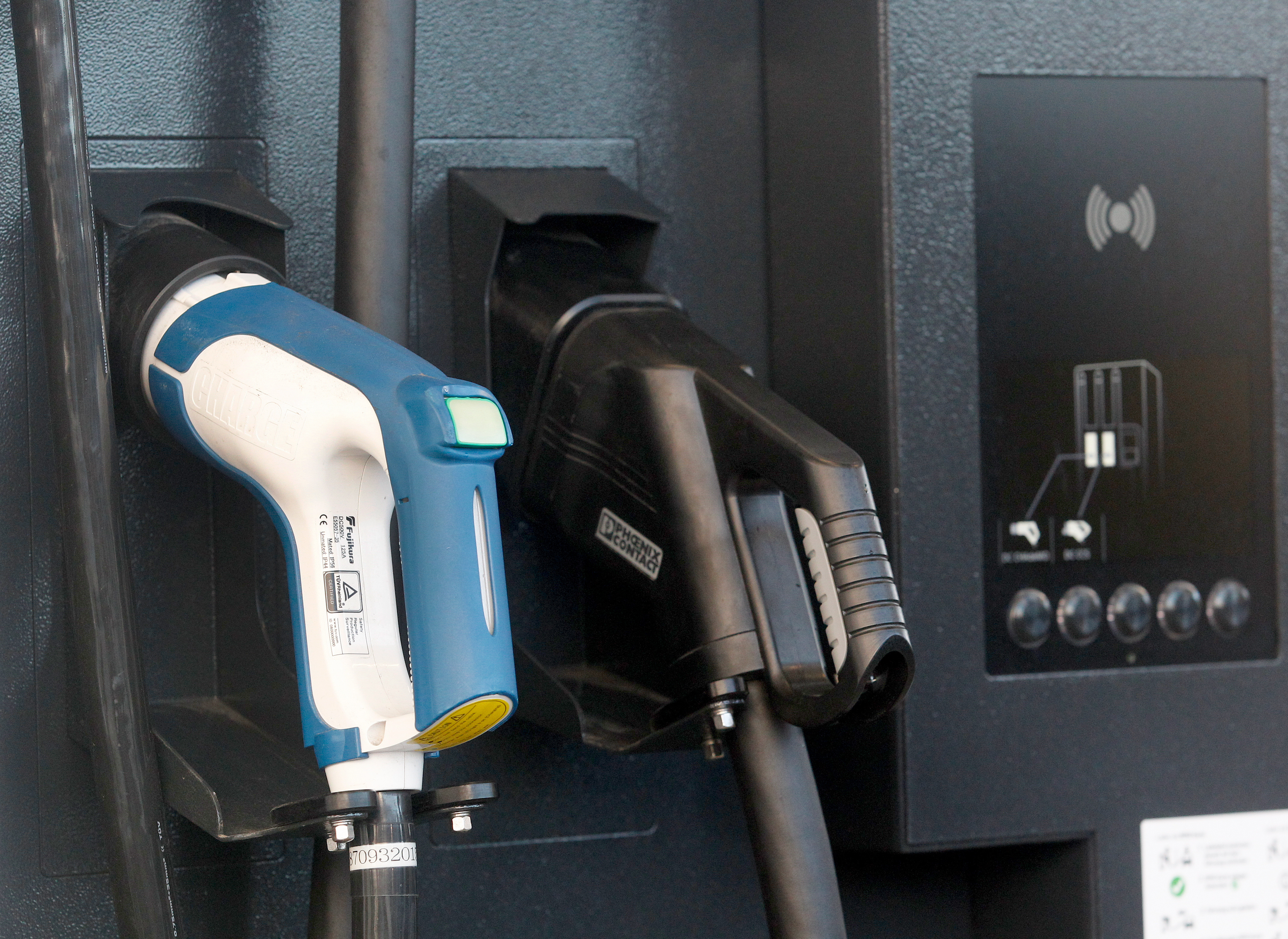 Enlarge A Double Charging Station With Ccs Plug And Chademo