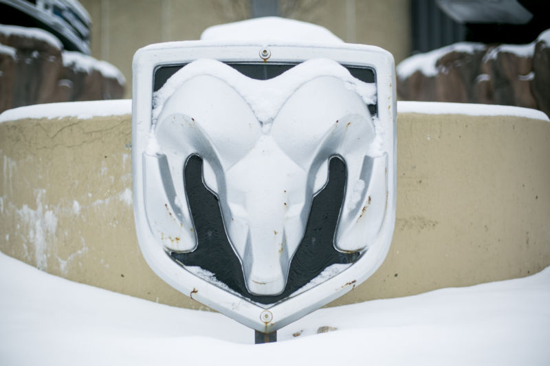 RAM logo covered in snow.