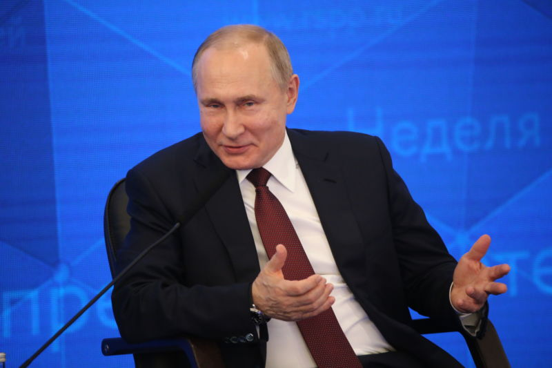 Russian President Vladimir Putin speaks in Moscow on March 14, 2019.