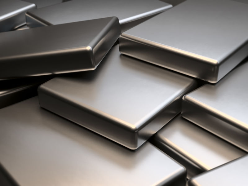 Stacked metal plates of neodymium rare earth magnets 3D Rendering