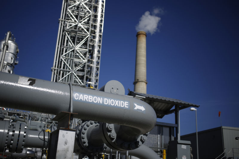 A pipe at a carbon capture plant carrying CO2.