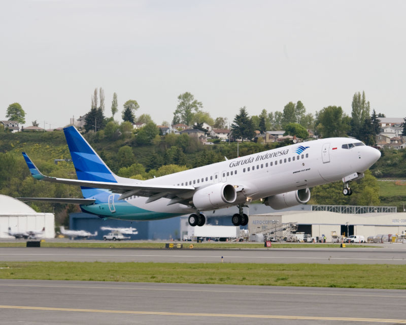 A Garuda Indonesia 737-800. The airline is moving to cancel orders for the 737 MAX after the Lion Air and Ethiopian Airlines crashes.