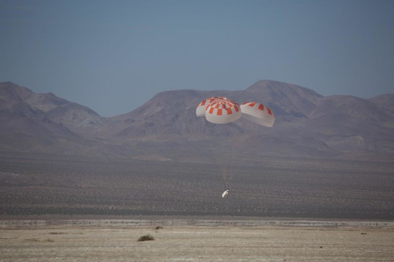 SpaceX performs its fourteenth overall parachute test supporting Crew Dragon development in the Mojave Desert in March 2018.