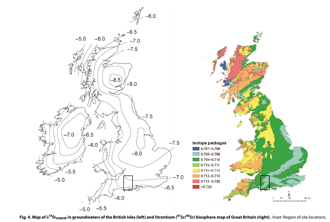 On the left, a map of oxygen isotope ratios in groundwater of the British Isles; on the right, a map of strontium-87/strontium-86 isotope ratios in Britain.