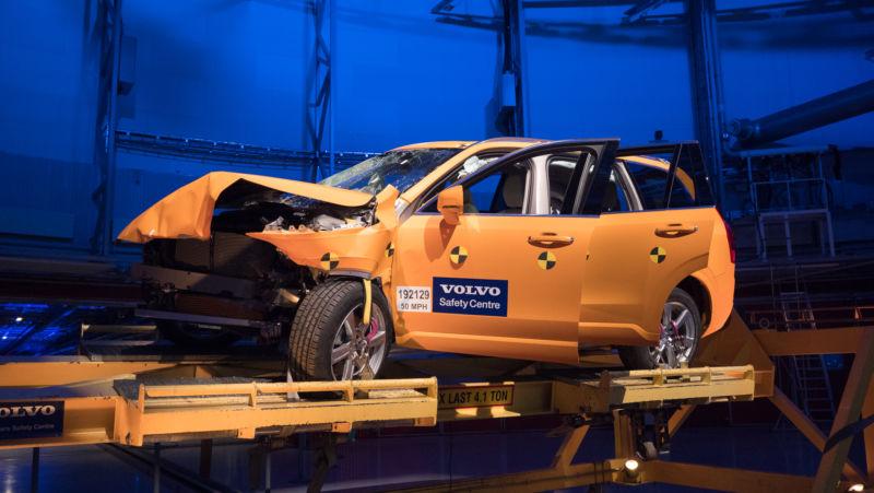 A previously crash-tested Volvo XC90.