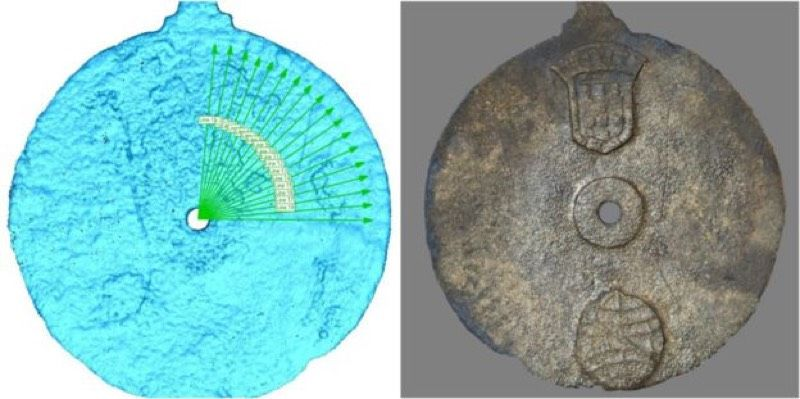 Left: A laser imaging scan of the so-called Sodré astrolabe, recovered from the wreck of a Portuguese Armada ship. Right: The astrolabe is believed to have been made between 1496 and 1501.