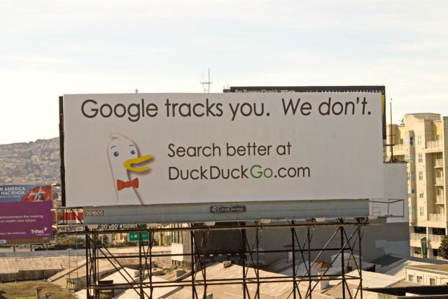 After eight years of billboard advertising on heavily trafficked routes in major cities, you'd think Circle would have noticed DuckDuckGo existed. Apparently not.
