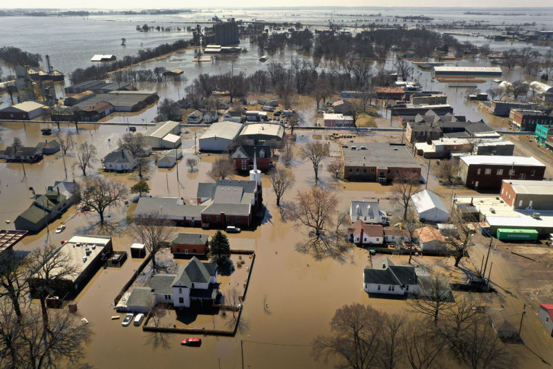 HAMBURG, IOWA - MARCH 20:  Homes and businesses are surrounded by floodwater on March 20, 2019 in Hamburg, Iowa.