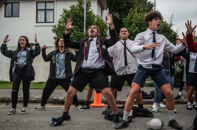 CHRISTCHURCH, NEW ZEALAND - MARCH 18: Youngsters perform a Haka during a students vigil near Al Noor mosque on March 18, 2019 in Christchurch, New Zealand.