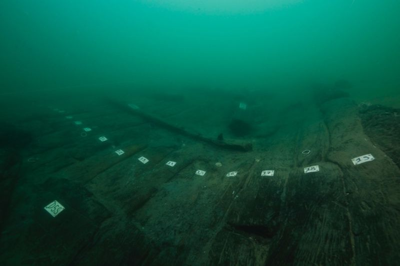 "The hull of so-called ""Ship 17,"" a wreck discovered in the sunken port city of Thonis-Heracleion."