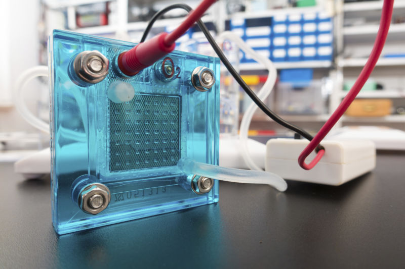 Close-up of a hydrogen fuel cell.