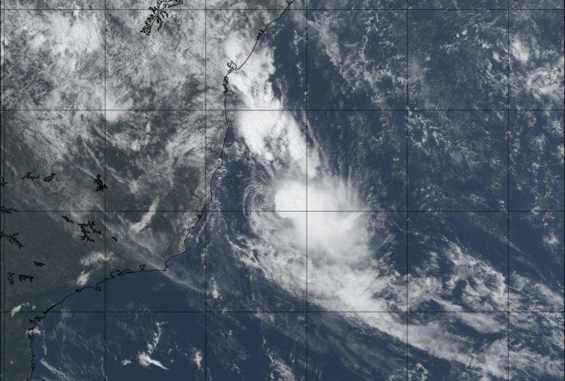 NOAA satellite image of Tropical Storm Iba off the Brazil coast on Monday morning.