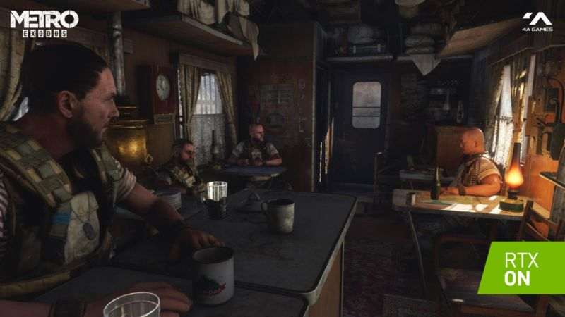 A screenshot of <em>Metro Exodus</em> with raytracing enabled.