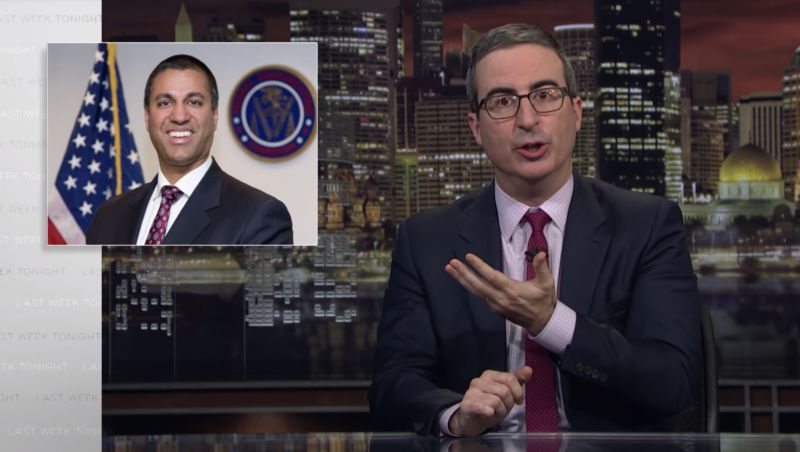Screenshot from John Oliver's show on robocalls, with Oliver gesturing toward a picture of FCC Chairman Ajit Pai.