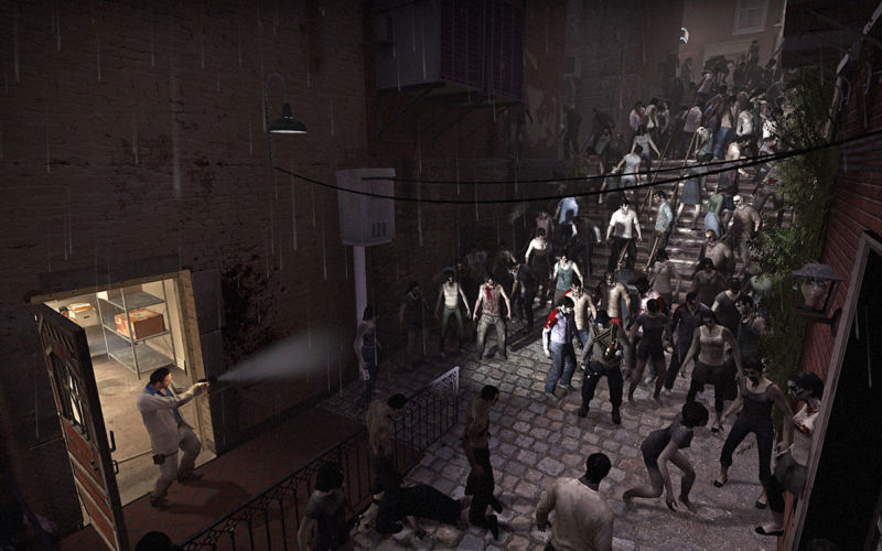 Artist's conception of <em>Left 4 Dead</em> fans searching aimlessly for a new co-op zombie shooter for the last ten years.