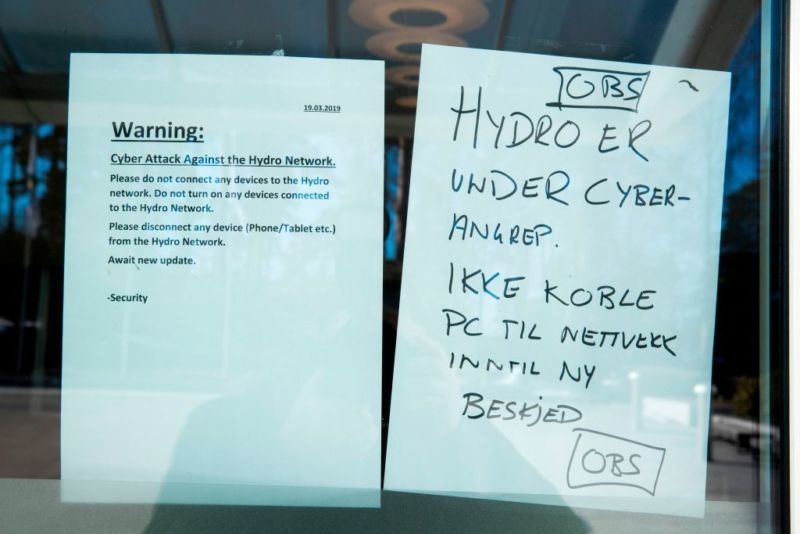 Notes posted on a window of Norsk Hydro's headquarters in Norway on March 19, 2019.