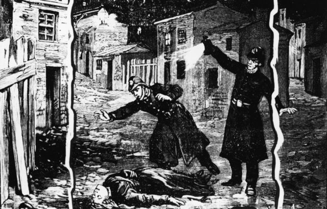 Illustration shows the police discovering the body of one of Jack the Ripper's victims, probably Catherine Eddowes, in London, late September 1888.