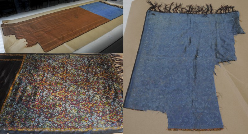 Upper left: largest piece of the shawl purportedly belonging to Ripper victim Catherine Eddowes. Lower left: the floral detail on the shawl. Right: smaller piece of the shawl from the blue side.