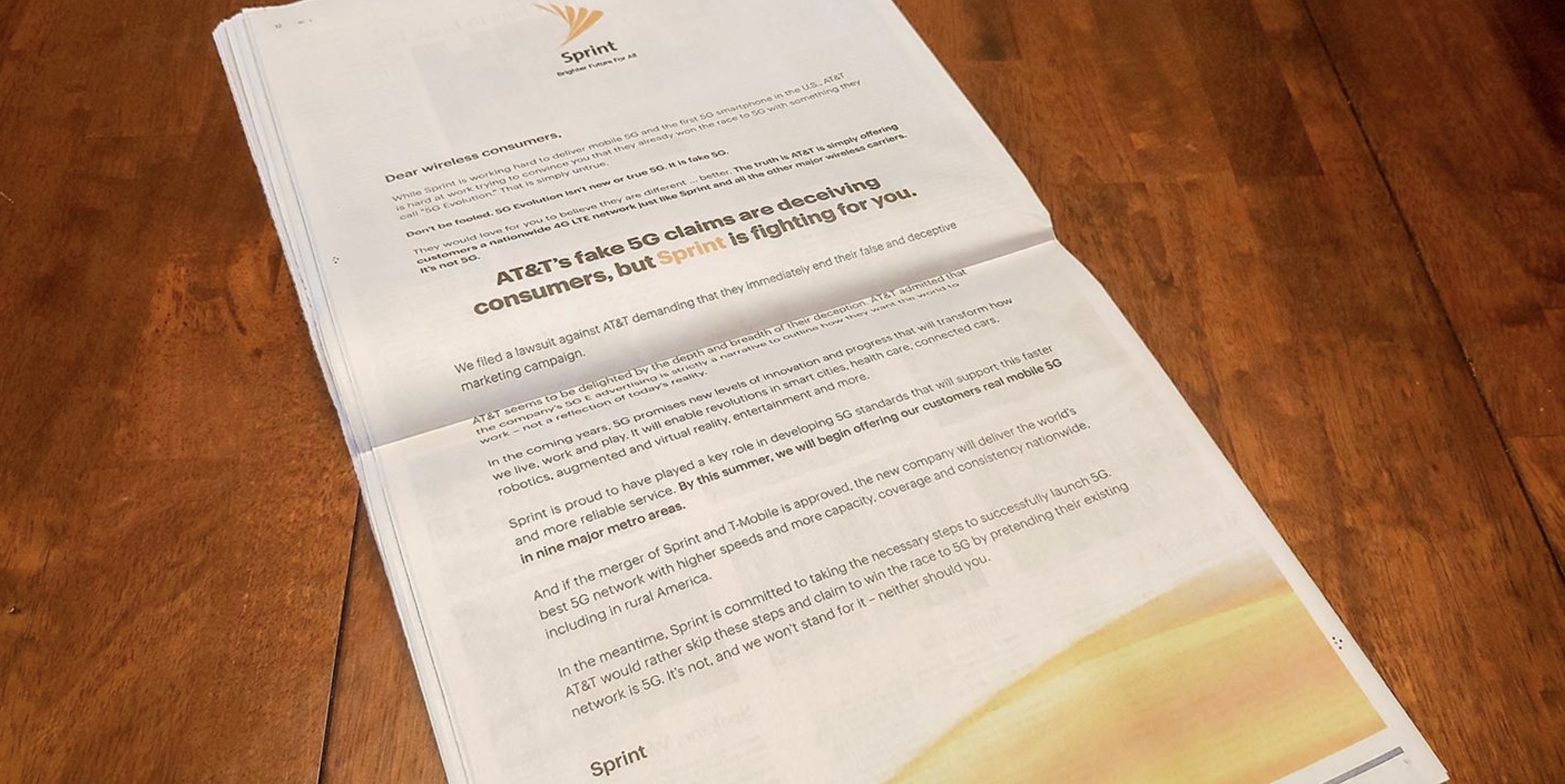 Att Perks At Work >> Sprint Steps Up Fight Against At T S Fake 5g With Full Page Sunday