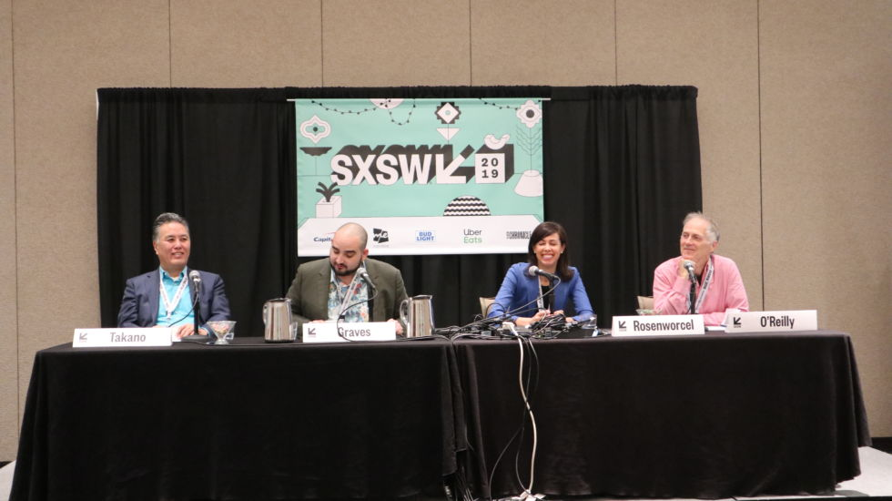 Rep. Mark Takano (D-Calif.), seated at the far left, speaks with FCC Commissioner Jessica Rosenworcel (second from right) and O'Reilly Media founder Tim O'Reilly (far right) at SXSW 2019.