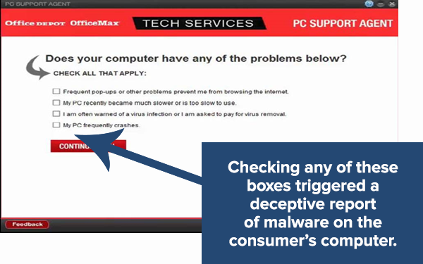 Screenshot from Office Depot's PC scanning program.
