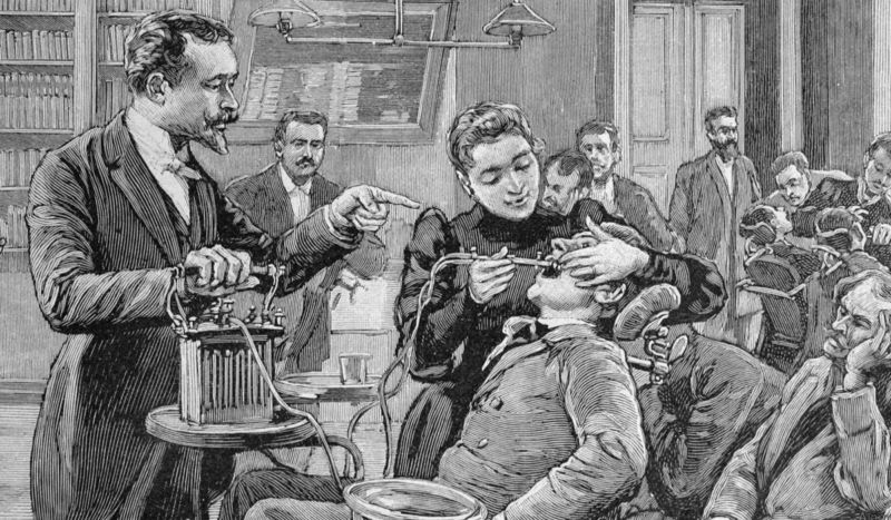 "A patient receiving dental treatment, circa 1892. There were several cases of ""exploding teeth"" in the 19th century that remain unexplained to this day."