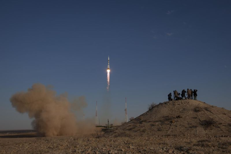 A Soyuz rocket launches from the Baikonur Cosmodrome in 2012.